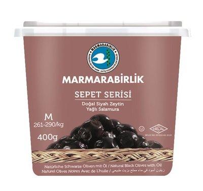 MARMARABIRLIK SEPET ZWARTE OLIJVEN M 12X400 GR