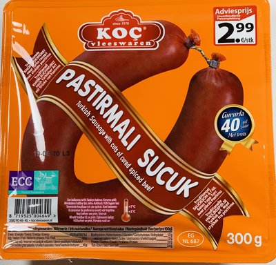 KOC GURME PASTIRMALI SUCUK 8X300 GR
