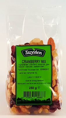 TAZEDEN NOTENMIX & CRANBERRY 15X250 GR