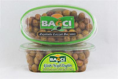 BAGCI GESTREEPTE GROENE OLIJVEN 12X400 GR